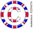 Copyright symbol showing UK flag - stock photo