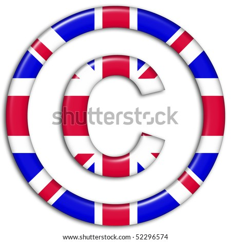 Copyright symbol showing UK flag - stock photo