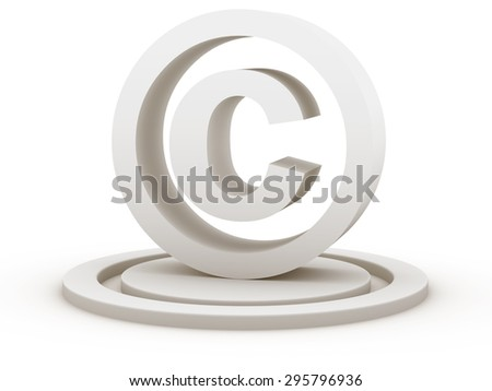 Copyright symbol , This is a computer generated and 3d rendered picture. - stock photo