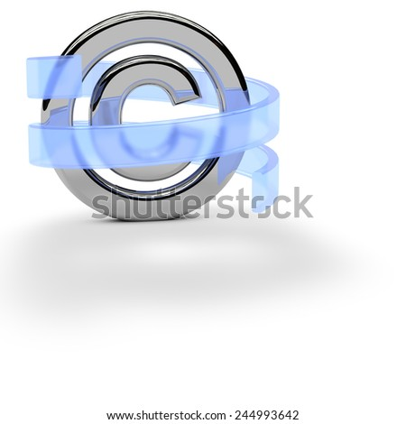 copyright symbol with spiral protection  - stock photo