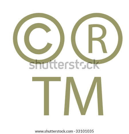 Copyright, trademark and registered signs, isolated on white background. - stock photo