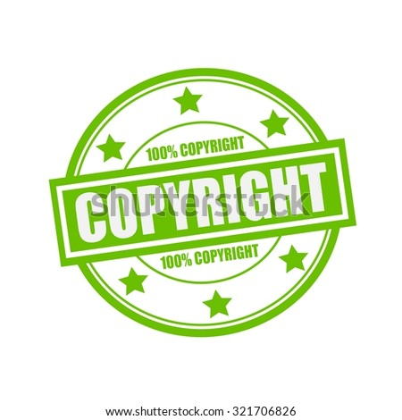 copyright white stamp text on circle on green background and star