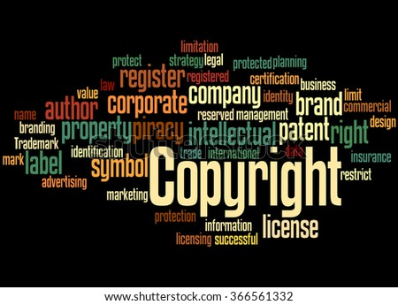 Copyright, word cloud concept on black background. - stock photo