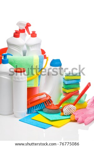 copyspace cleaning supplies composition - stock photo