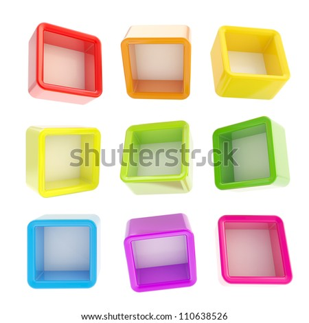 Copyspace cube square rainbow colored shelf boxes in nine foreshortenings isolated on white - stock photo