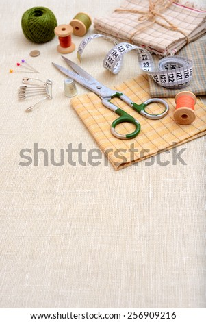 Copyspace frame with sewing tools and accesories - stock photo