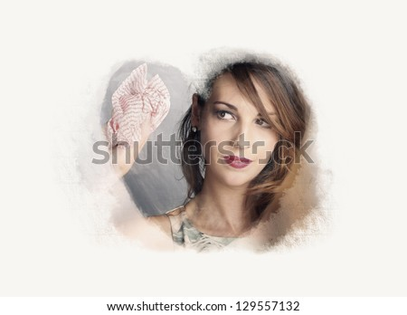 Copyspace Portrait Of A Beautiful Housewife Cleaning Frost And Mildew Off A Home Window In A Depiction House Work Love - stock photo