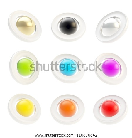 Copyspace round glossy circle button emblem badges isolated on white, set of nine foreshortening - stock photo