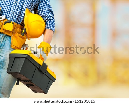 copyspace worker with very close up  - stock photo