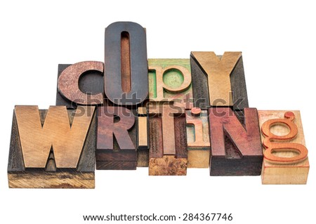copywriting word  - isolated text in mixed letterpress wood type printing blocks - stock photo