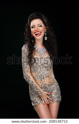 Coquette. Funny Woman Joking and Licking Her Lips. Amusing Smile - stock photo