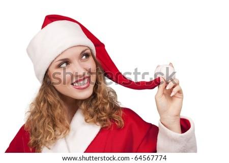 Coquette Santa Claus over white background - stock photo