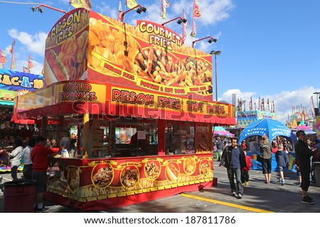 Coquitlam BC Canada - April 13 2014 : A variety of carnival food vendors in Coquitlam BC Canada.  - stock photo
