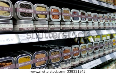 Coquitlam, BC, Canada - November 03, 2015 : Healthy herb seasoning for sale on shelves in a nature food supermarket. - stock photo