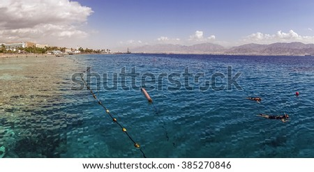 Coral Beach Nature Reserve over Red Sea in Eilat, Israel, Middle East - stock photo