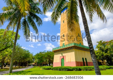 Coral Gables, FL USA - April 4, 2015: The beautifully restored Alhambra Water Tower in the Spanish style influenced neighborhood of Coral Gables in Miami. - stock photo