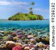 Coral island and reef sharks, Siam Bay, Thailand - stock photo