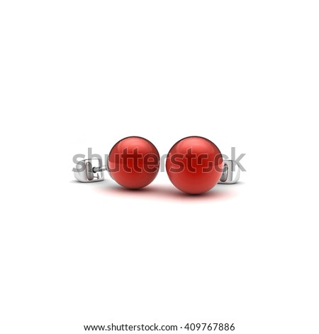 Coral Red pearl pierced earrings on white background,3D Illustration
