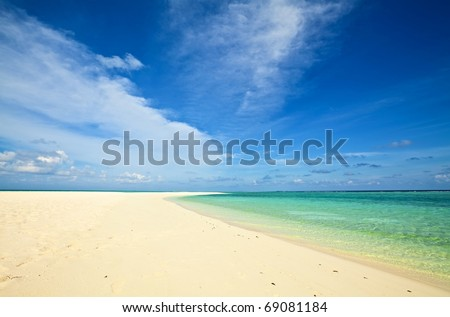 Coral tropical beach, The Indian Ocean, Maldives - stock photo