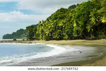 Corcovado National Park - beach view, Osa Peninsula - Costa Rica - stock photo