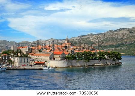 Corcula. Small island city near Dubrovnik in Croatia - stock photo