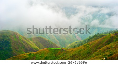 Cordillera Mountains in the foggy day. Luzon island, Philippines - stock photo