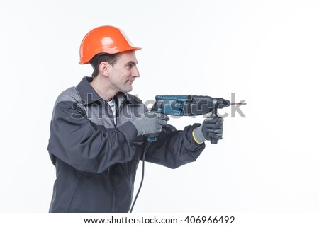 Cordless drill isolated on white background hand job  - stock photo