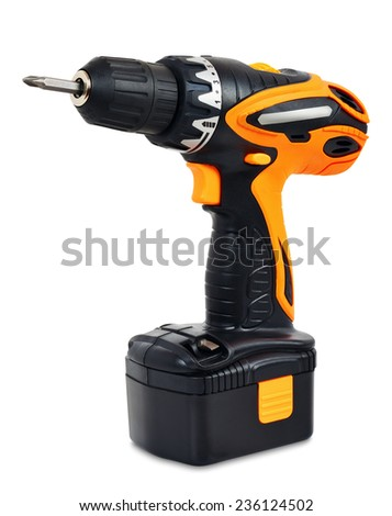 Cordless Drill - Screwdriver on a white background - stock photo