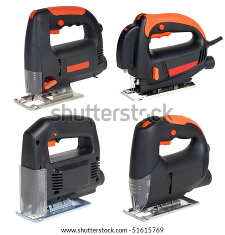 Cordless jig saw set isolated over white