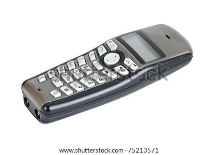 Cordless phone handset, isolated on white background - stock photo