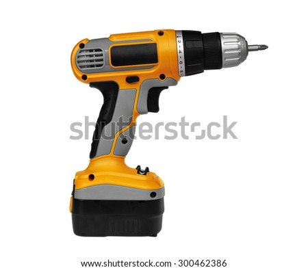 Cordless screwdriver on white background