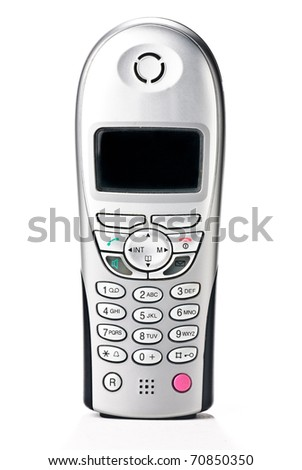 cordless telephone isolated against a white background - stock photo