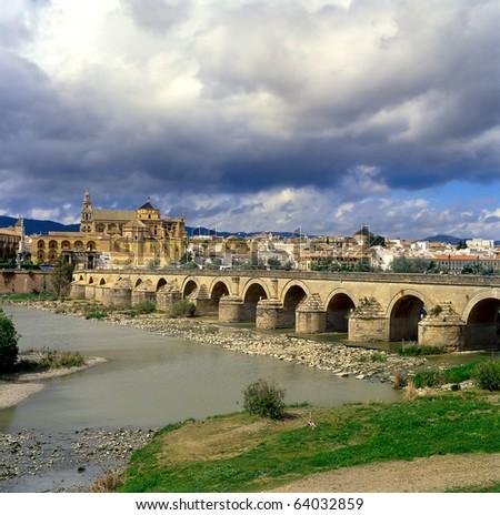 Cordoba, Roman bridge, Guadalquivir river, Andalusia, Spain, UNESCO - stock photo