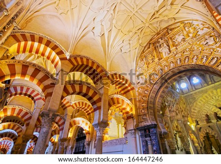 CORDOBA, SPAIN - JUNE 6: Interior view of La Mezquita Cathedral on June 6, 2013 in Cordoba, Spain. The cathedral was built inside of the former Great Mosque. Popular tourist destination in Spain.