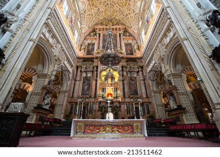 CORDOBA, SPAIN - JUNE 3: Interior view of La Mezquita Cathedral on June 3, 2014 in Cordoba, Spain. The cathedral was built inside of the former Great Mosque. Popular tourist destination in Spain.