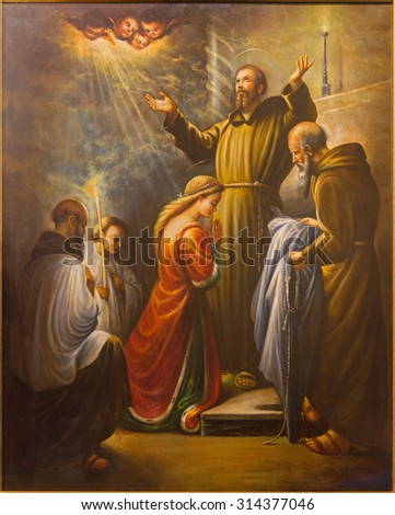 CORDOBA, SPAIN - MAY 27, 2015: St. Francis of Assisi at the ordination of st. Clara in year 1212 in church Convento de Capuchinos. The modern paint of 20. cent. by unknown artist. - stock photo