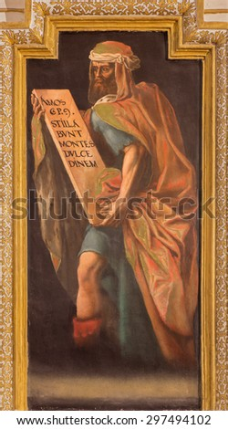 CORDOBA, SPAIN - MAY 27, 2015: The fresco of prophet Amos in church Iglesia de San Augustin from 17. cent. by Cristobal Vela and Juan Luis Zambrano. - stock photo