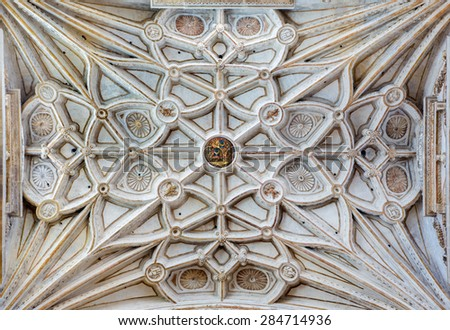 CORDOBA, SPAIN - MAY 28, 2015: The gothic vault of side nave in the Cathedral. - stock photo