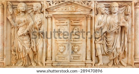 CORDOBA, SPAIN - MAY 25, 2015: The marble ancient roman tomb stone from year 225 with the gate to Hades in the centre in Alcazar de los Reyes Cristianos castle. - stock photo