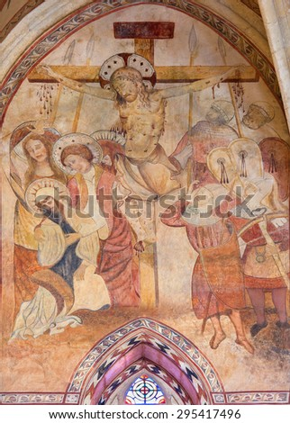 CORDOBA, SPAIN - MAY 27, 2015: The medieval fresco of Crucifixion in main apse of church Iglesia de San Lorenzo from 14. cent. - stock photo