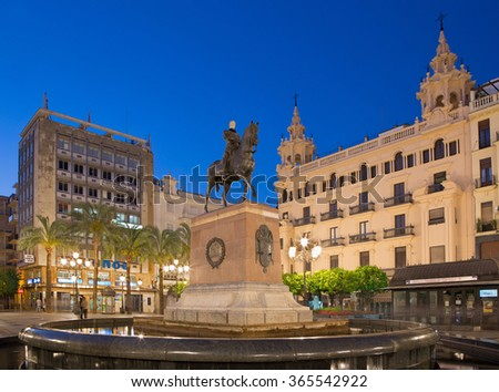 CORDOBA, SPAIN - MAY 28, 2015: The Plaza Tendillas square at dusk with The Great Capitan memorial by Mateo Inurria Lainosa (1920).