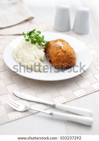 Cordon bleu chicken cutlet - stock photo