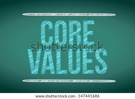 core values message written on a chalkboard. illustration design - stock photo