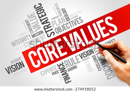 Core values word cloud, business concept - stock photo