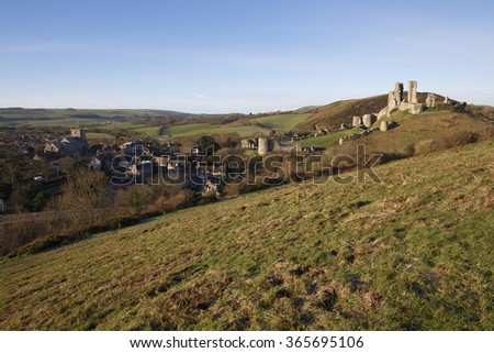 Corfe Castle and village in the Purbeck District, Dorset