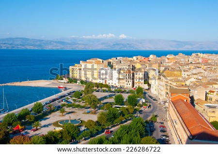 CORFU-AUGUST 22: Aerial view of Corfu city as seen from the New Fortress on August 22, 2014 on Corfu island, Greece. - stock photo