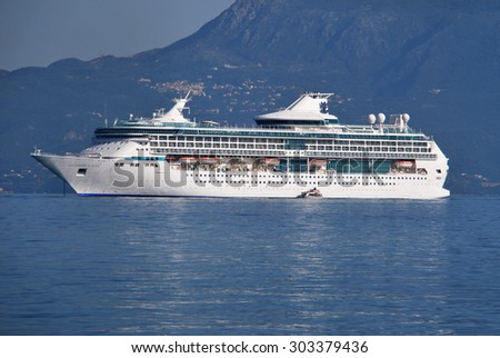 CORFU, GREECE - JULY 15: Cruise ship Splendour of the Seas of Royal Caribbean International moored in Corfu on July 15, 2012 in Corfu, Greece.
