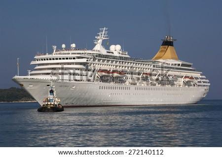 CORFU/GREECE 3RD OCTOBER 2006 - The P&O Cruise Ship Artemis enters the port of Corfu - stock photo