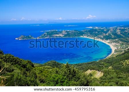 Corfu island panorama from above. Corfiot beach coastline birds eye view - stock photo