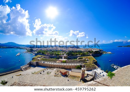 Corfu panorama as seen from above the old venetian fortress - stock photo